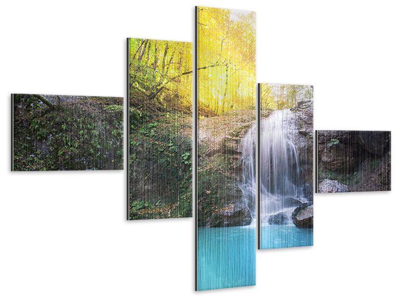 Metallic-Bild 5-teilig modern Fliessender Wasserfall