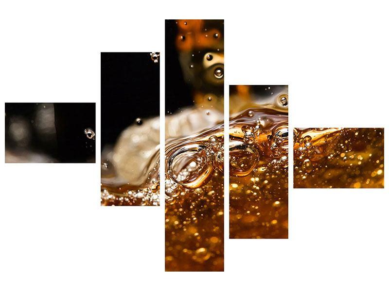 Metallic-Bild 5-teilig modern Cognac