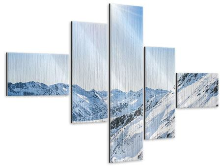 Metallic-Bild 5-teilig modern Bergpanorama im Schnee
