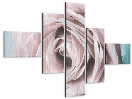 Metallic-Bild 5-teilig modern Pastellrose