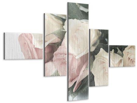 Metallic-Bild 5-teilig modern Rosenromantik