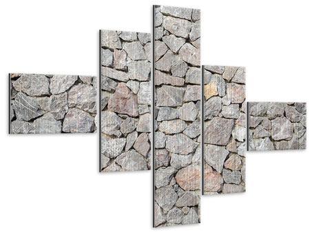 Metallic-Bild 5-teilig modern Grunge-Stil Mauer