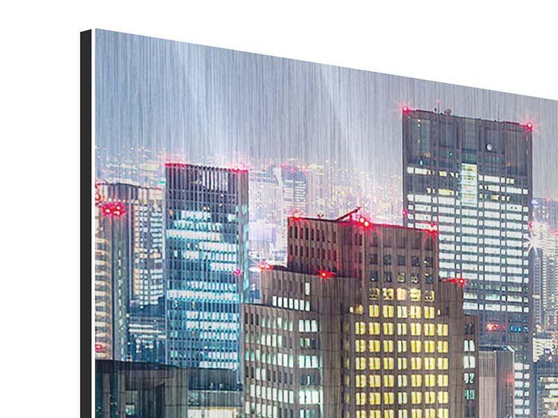 Metallic-Bild 5-teilig modern Skyline Osaka im Lichtermeer