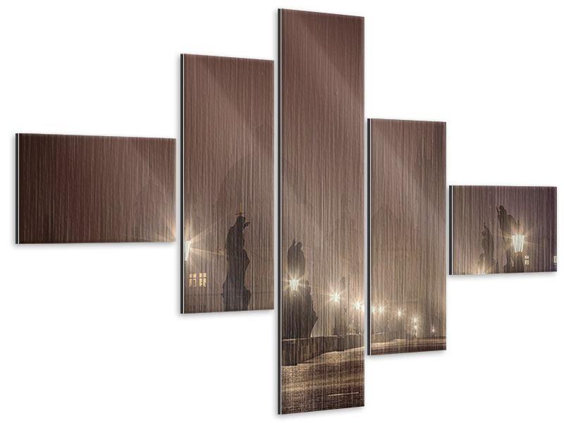 Metallic-Bild 5-teilig modern Die Karlsbrücke bei Nacht