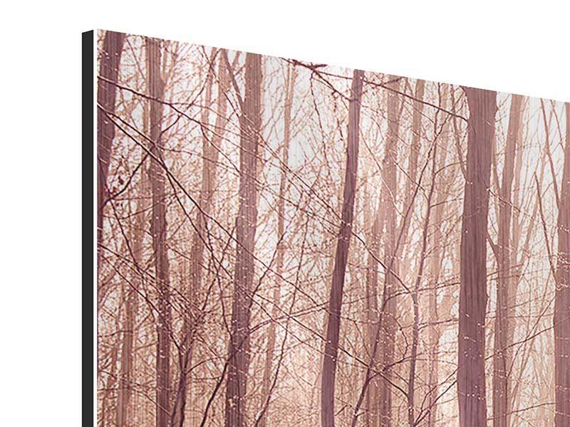Metallic-Bild 5-teilig modern Sonnenuntergang im Herbstwald