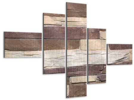 Metallic-Bild 5-teilig modern Designer-Mauer