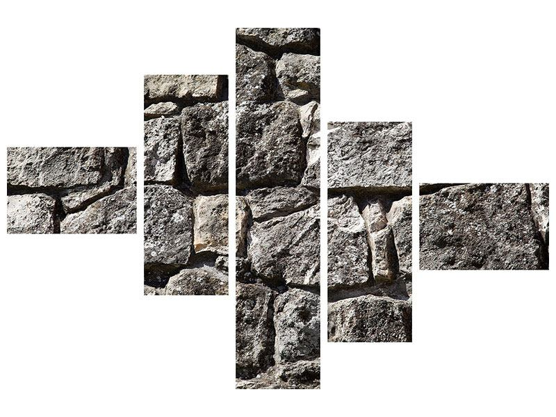Metallic-Bild 5-teilig modern Grosses Mauerwerk