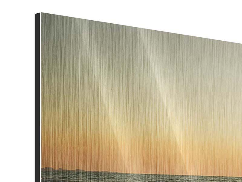 Metallic-Bild 5-teilig modern Sonnenuntergang am Meer