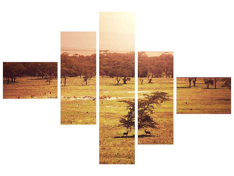 Metallic-Bild 5-teilig modern Malerisches Afrika