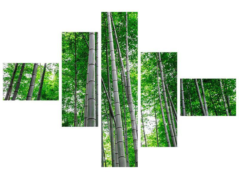 Metallic-Bild 5-teilig modern Bambuswald