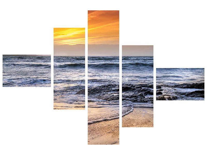 Metallic-Bild 5-teilig modern Das Meer