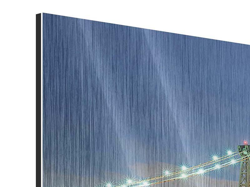 Metallic-Bild 5-teilig modern Brooklyn Bridge bei Nacht