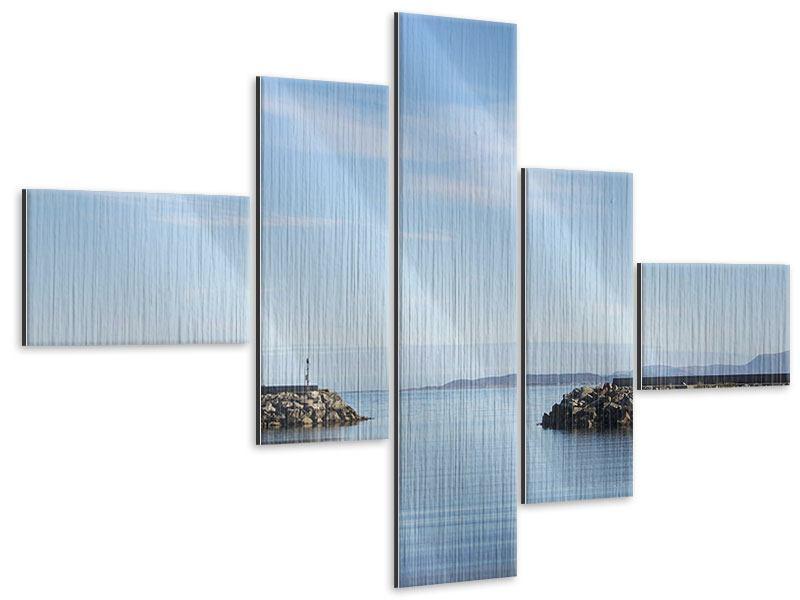 Metallic-Bild 5-teilig modern Hafenmauern