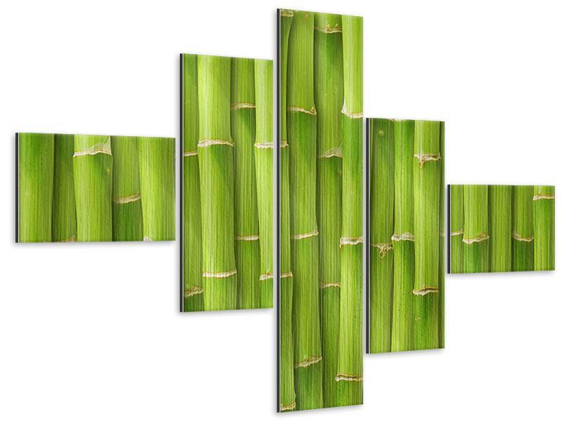 Metallic-Bild 5-teilig modern Bambuswand