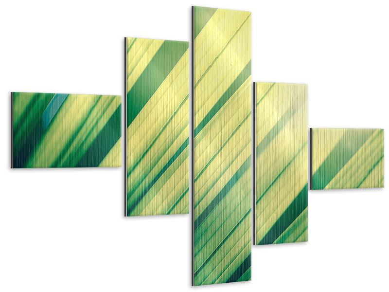 Metallic-Bild 5-teilig modern Beleuchtetes Palmblatt