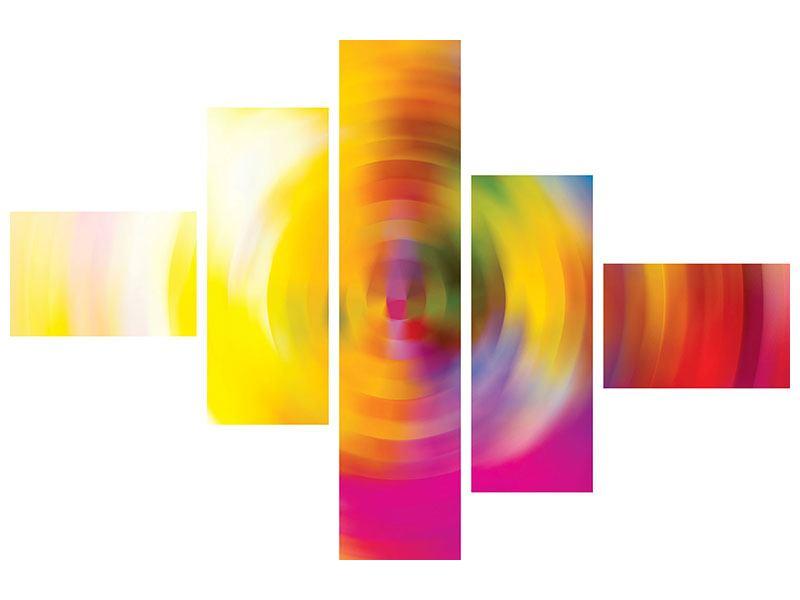Metallic-Bild 5-teilig modern Abstrakte Farbkreise