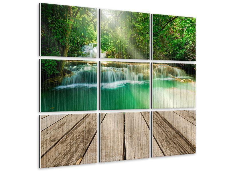Metallic-Bild 9-teilig Wasserfall Thailand