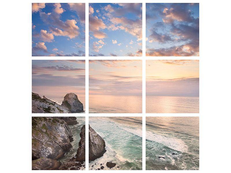Metallic-Bild 9-teilig Romantischer Sonnenuntergang am Meer
