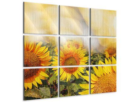 Metallic-Bild 9-teilig Das Licht der Sonnenblumen