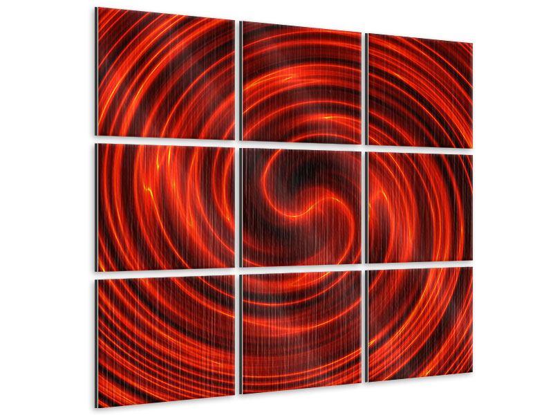 Metallic-Bild 9-teilig Abstrakte Rote Wirbel