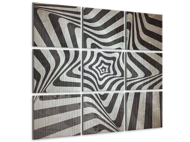 Metallic-Bild 9-teilig Abstrakte Bewegungen