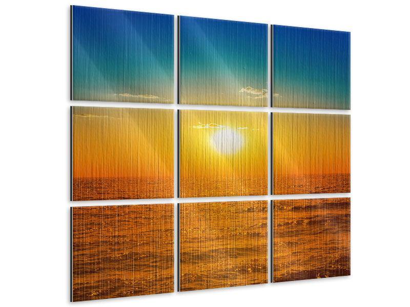 Metallic-Bild 9-teilig Das Meer im Sonnenuntergang
