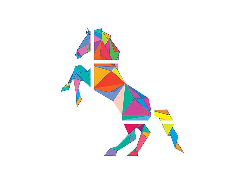Metallic-Bild 9-teilig Origami Pferd