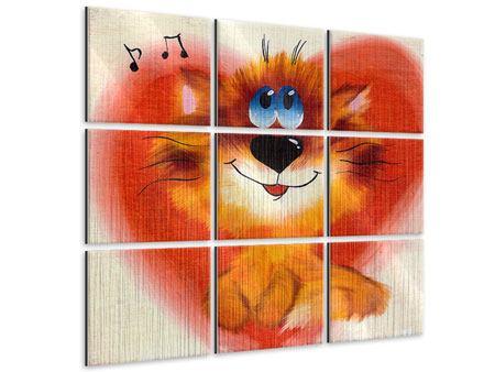 Metallic-Bild 9-teilig Happy Cat