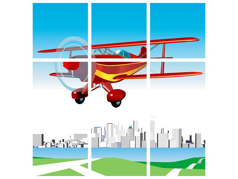 Metallic-Bild 9-teilig Fliegendes Flugzeug