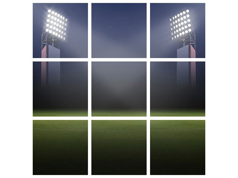Metallic-Bild 9-teilig Fussballstadion