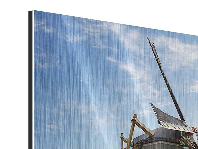 Metallic-Bild 9-teilig Die Windmühle mit den Tulpen
