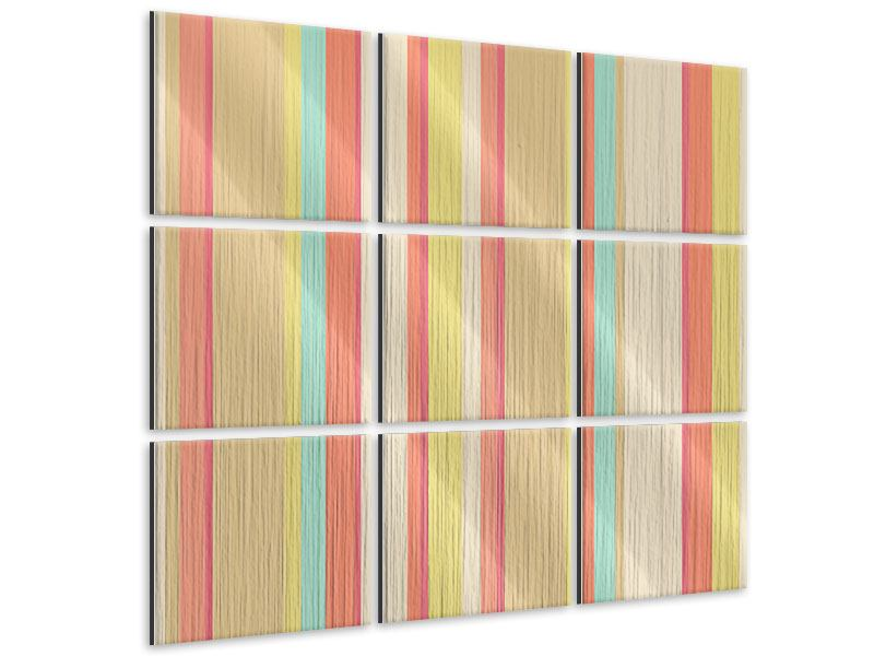 Metallic-Bild 9-teilig Pastell Streifen
