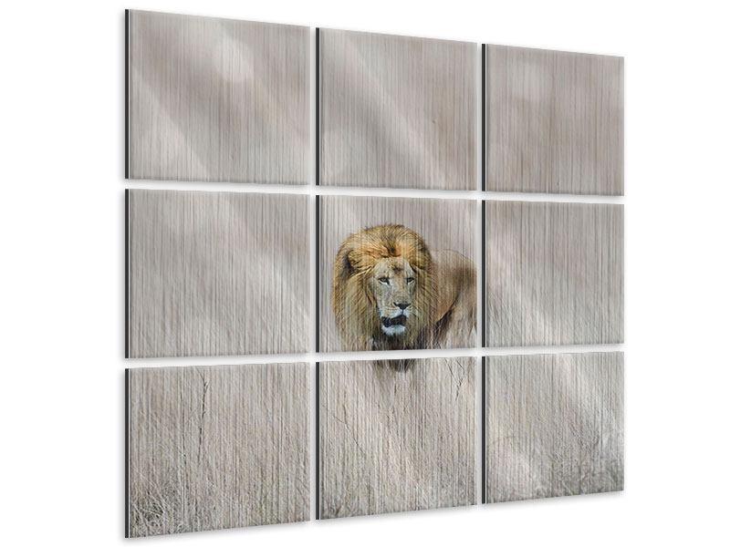 Metallic-Bild 9-teilig Der Löwe