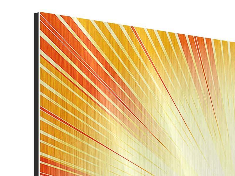 Metallic-Bild 9-teilig Abstrakte Retro Sonne