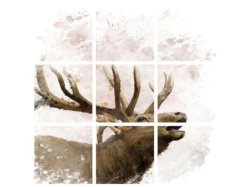Metallic-Bild 9-teilig Elch-Gemälde