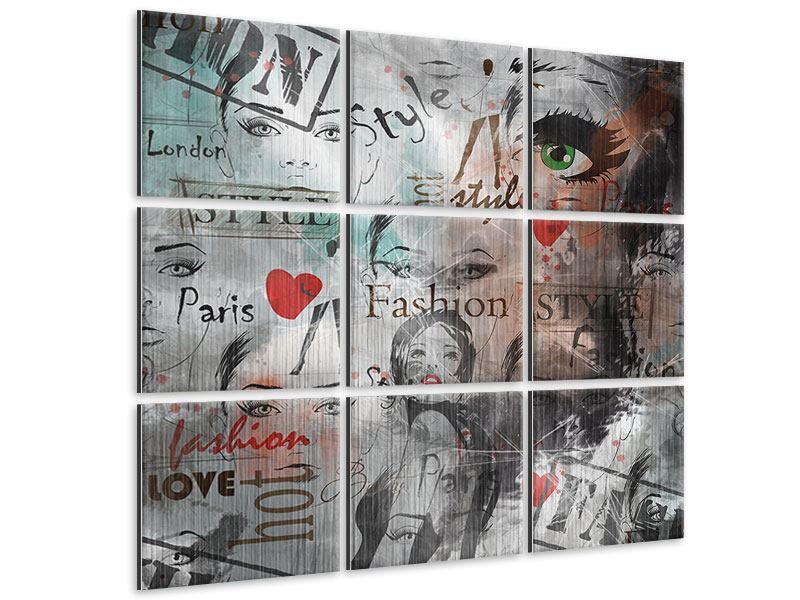 Metallic-Bild 9-teilig I Love Paris