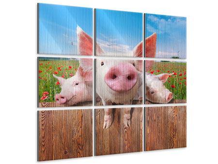 Metallic-Bild 9-teilig Schweinchen im Glück