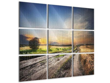 Metallic-Bild 9-teilig Sonnenaufgang am Feld