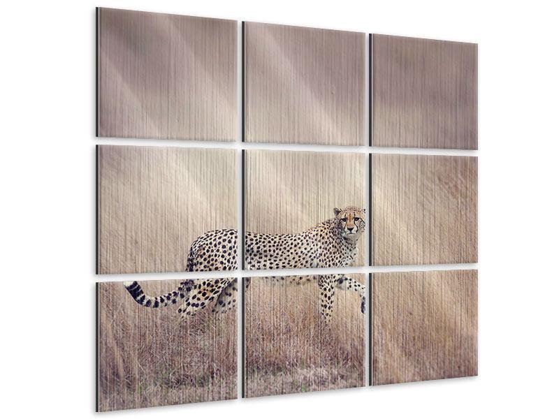 Metallic-Bild 9-teilig Gepard