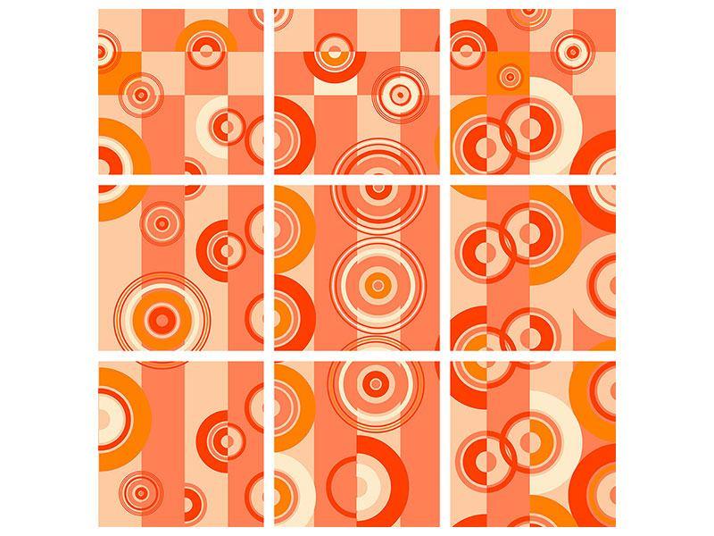 Metallic-Bild 9-teilig Bewegte Retro-Kreise