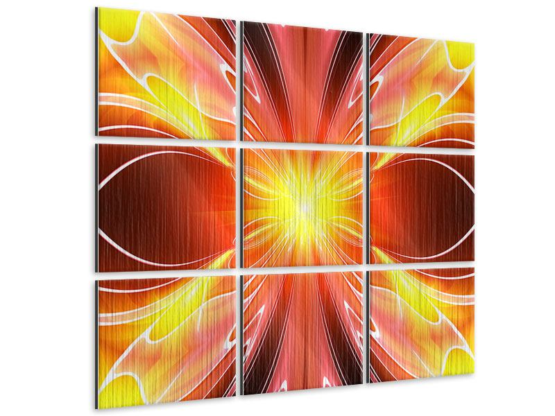 Metallic-Bild 9-teilig Abstraktes Farbenspektakel