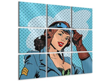 Metallic-Bild 9-teilig Pop Art Pilotin