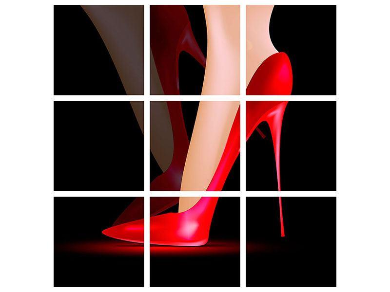 Metallic-Bild 9-teilig Der rote High Heel