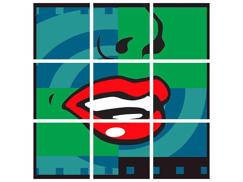 Metallic-Bild 9-teilig The Mouth
