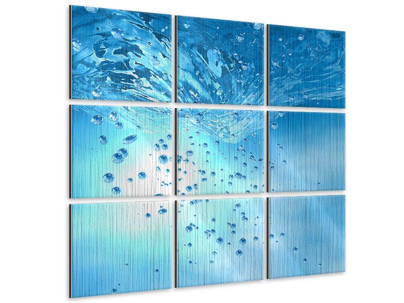 Metallic-Bild 9-teilig Wasserblasen