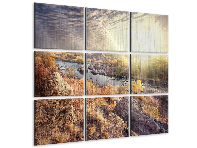 Metallic-Bild 9-teilig Sonnenaufgang am Fluss