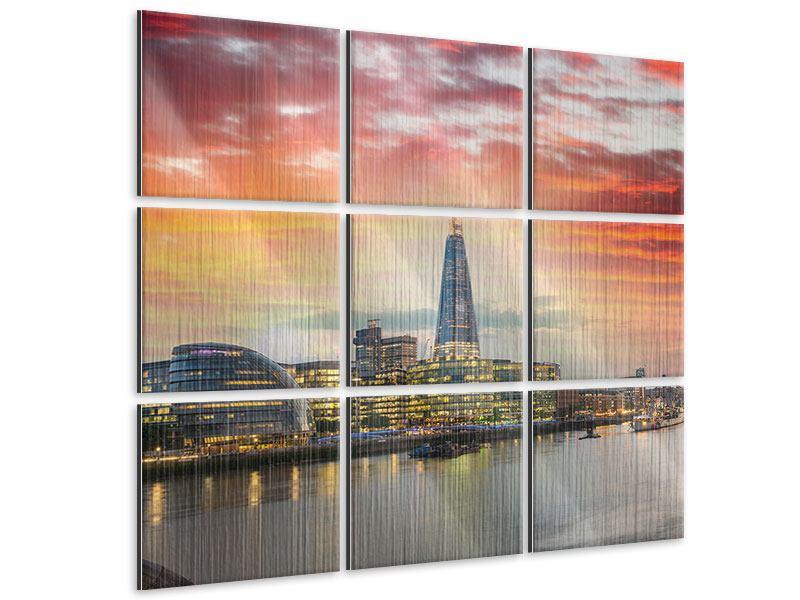 Metallic-Bild 9-teilig Skyline London im Abendrot