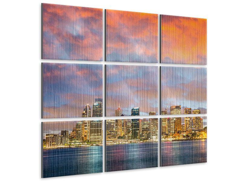 Metallic-Bild 9-teilig Skyline Das Lichtermeer von Sydney