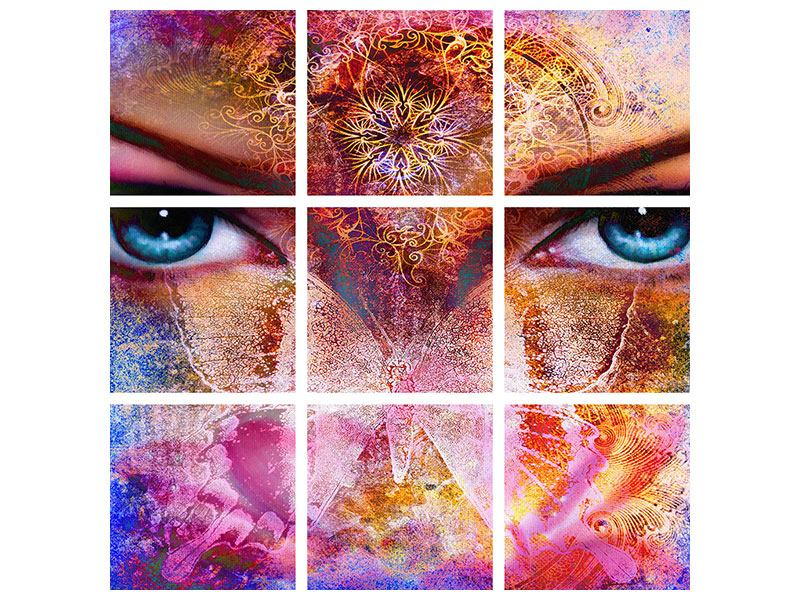 Metallic-Bild 9-teilig Psychedelic Face