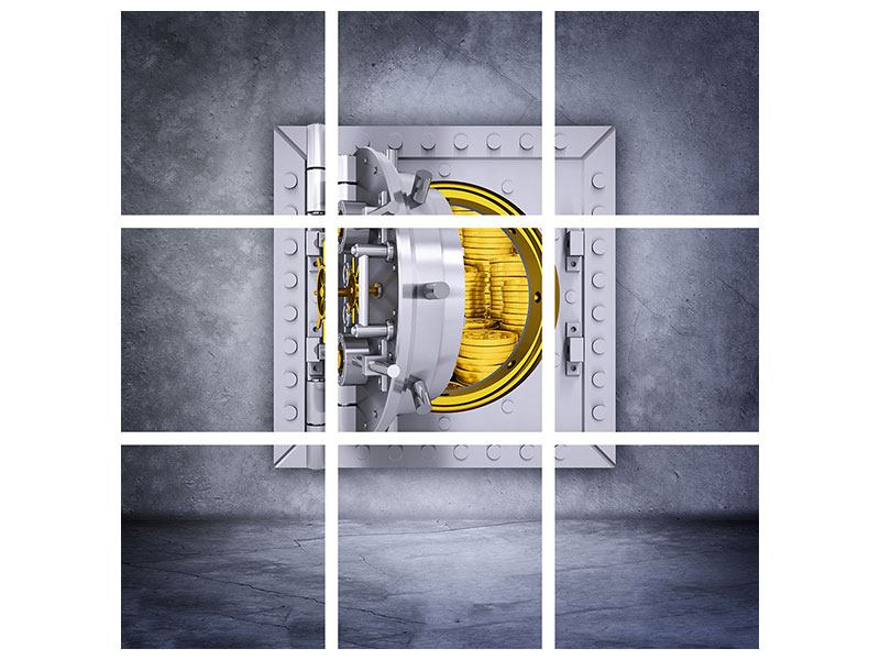 Metallic-Bild 9-teilig Gefüllter Tresor